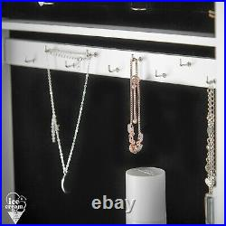 White Mirrored Jewellery Storage Cabinet LED Lights Desktop/Wall Mounted Bedroom