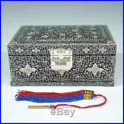 White Mother of Pearl Lacquer Wood Jewelry Chest Lock Ring Keepsake Trinket Box