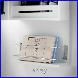 White Wall/Door Hung Mirror Jewellery Cabinet with LED Lights & Hair Dryer Holder
