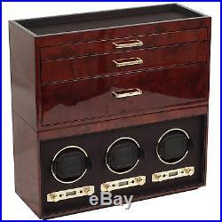 Wolf Meridian Collection Modular Watch Box Jewelry Case Burlwood