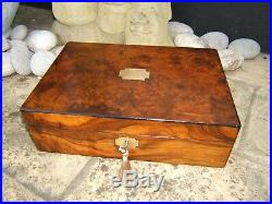 Wonderful 19c Figured Walnut Antique Document/jewellery Box Fab Interior