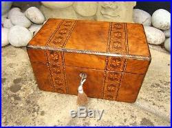 Wonderful 19c Figured Walnut Inlaid Antique Jewellery Box Fab Interior