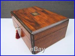 Wonderful 19c Victorian Walnut Inlaid Antique Jewellery Box Fab Interior