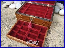 Wonderful 19c Walnut Inlaid Antique Jewellery/vanity Box Fab Interior