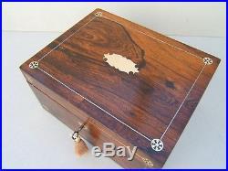 Wonderful Large 19c Rosewood Antique Document/jewellery Box Fab Interior