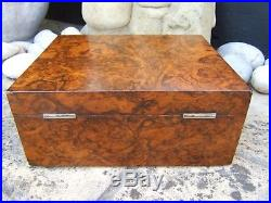 Wonderful Large 19c Victorian Burr Walnut Antique Jewellery Box Fab Interior