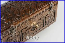 Wood Jewelry Box With Key Carved Wood Jewelry Box Jewelry Case Hand Carved Box