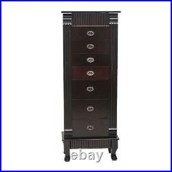 Wood Jewelry Cabinet Armoire Box Large Storage Space Chest Stand Holder