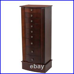 Wood Jewelry Cabinet Armoire Box Storage Chest Necklace Stand Organizer GA