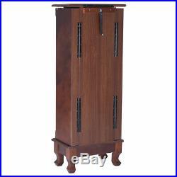 Wood Jewelry Cabinet Armoire Box Storage Chest Stand Organizer Mirror Vanity Leg