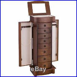 Wood Jewelry Cabinet Armoire Box Storage Chest Stand Organizer Valentine Gift