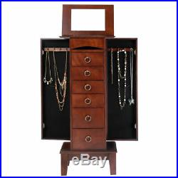 Wood Jewelry Cabinet Armoire Storage Box Chest Stand Organizer Christmas Gift