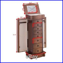 Wood Newly Designed Jewelry Cabinet With Mirror Armoire Storage Chest Box Stand