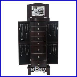 Wood Standing Jewelry Armoire Cabinet Storage Chest with 8 Drawers Makeup Mirror
