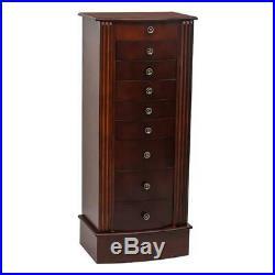 Wood Walnut Jewelry Cabinet Box Storage Chest Necklace Stand Organizer Brown