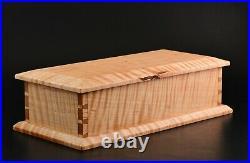 Wooden Box Curly Tiger Maple keepsake trinket hand crafted jewelry handmade