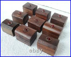 Wooden Box Old Design Hand Crafted Trinket Jewelry Small Box Lot of 90