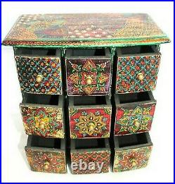 Wooden Hand Painted Drawer Jewelry Box Decorative Chest Spice Drawer Box Gift