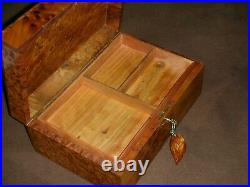 Wooden Jewelry Box Made Of Thuya Burl, Lockable Wooden Chest Box With Two Storage