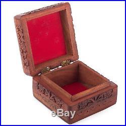 Wooden Jewelry Box Organizer Storage Case Vintage Treasure Chest Wood Crate Gift