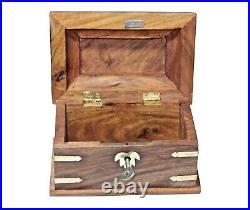 Wooden Jewelry Box With Key/ Beveled Edge & Brass Inlay