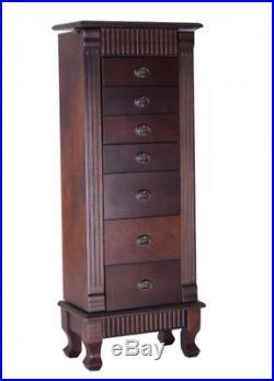 Wooden Jewelry Cabinet Armoire Storage Organizer 7 Drawers Stand Chest Box Dark