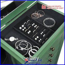 Wooden Jewelry Holder Amoire Cabinet Storage Box Organizer Drawer Green withMirror