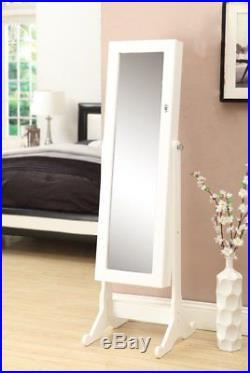 Wooden White Mirrored Jewelry Cabinet Armoire Mirror Organizer Storage Box Stand