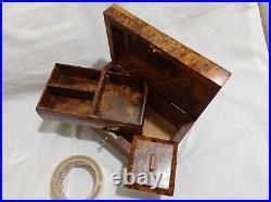 Wooden jewelry box, thuya wood handmade morocco, big box with tray inside box