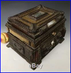 XLarge Antique Tramp Folk Art Chip-Carved Wood Jewelry Trinket Box, Early-1900s